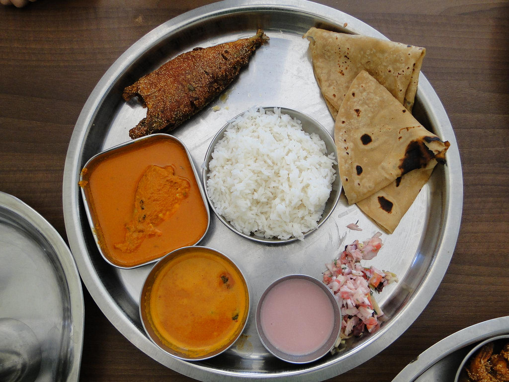 A tasty plate of Fish Thali in India