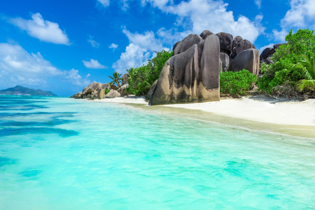 A beautiful view of a shore in Seychelles