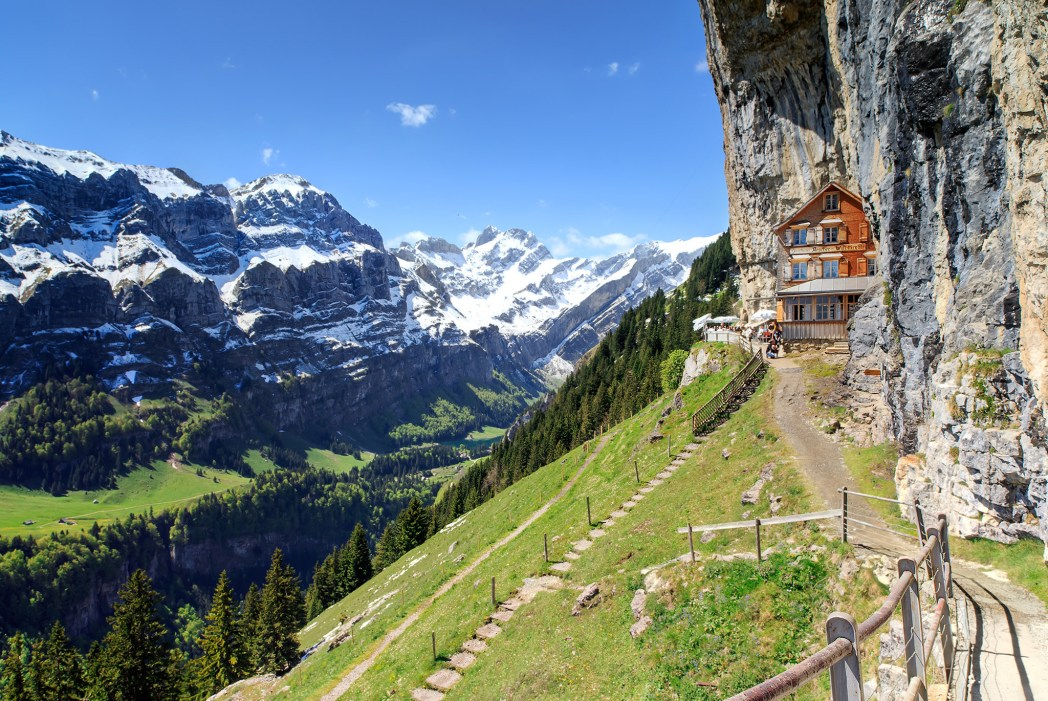 Aescher Hotel, placed dramatically on a cliffside