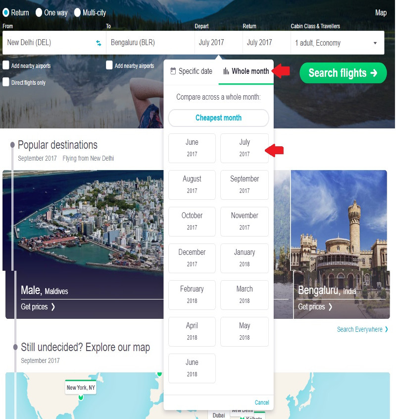 Skyscanner's whole month tool is a boon to budget travelers