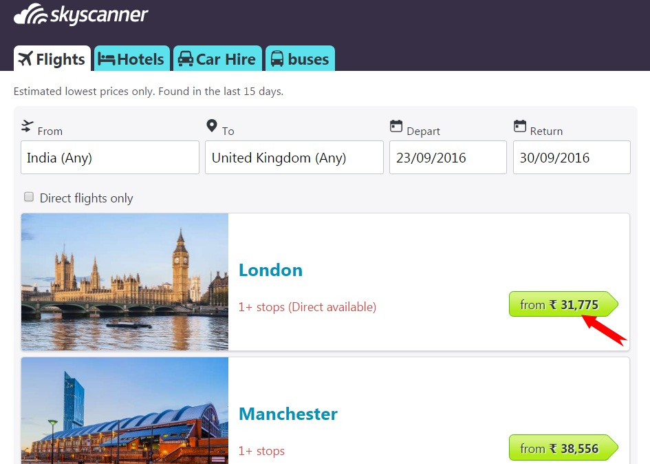 Various airports with cheap flight options
