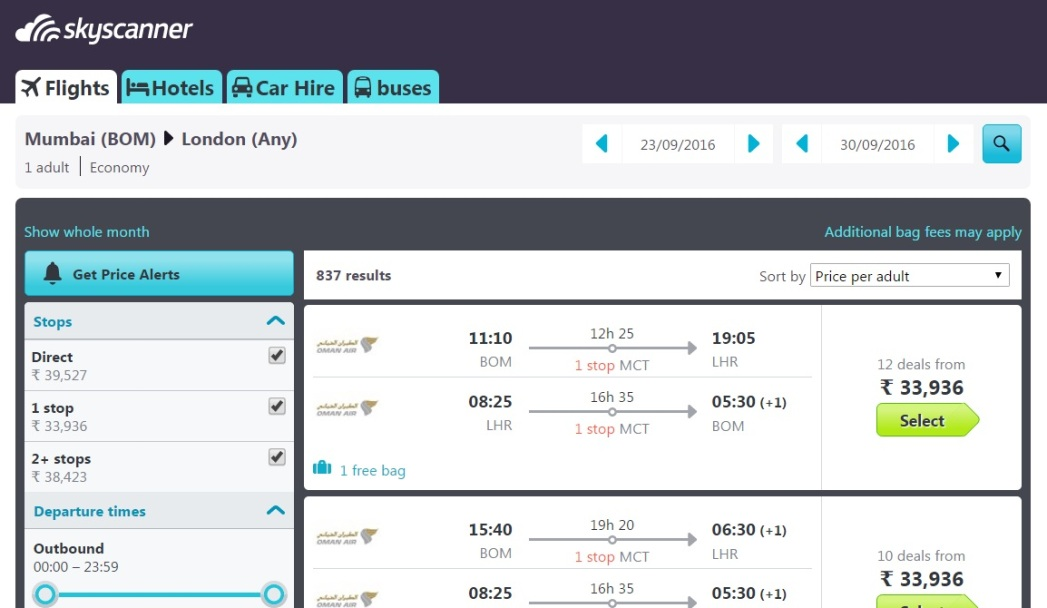Flight options to your selected destination