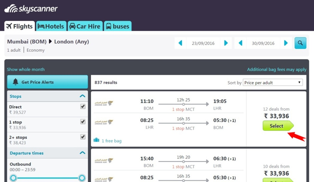 Various flight options with prices