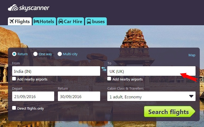 Search for flights to the destination country