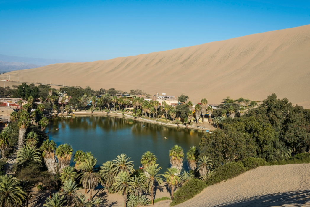The tree lined oasis at Huacachina in Peru