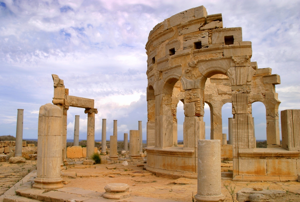 The very much intact Roman ruins at Leptis Magna in Libya