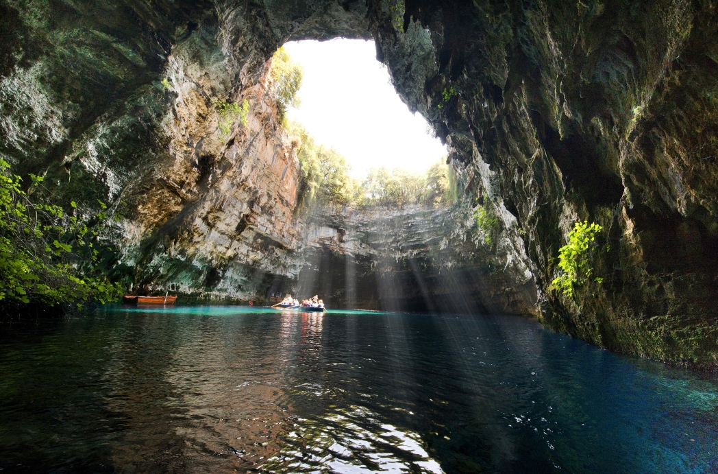 The sun coming in at the Melissani Cave