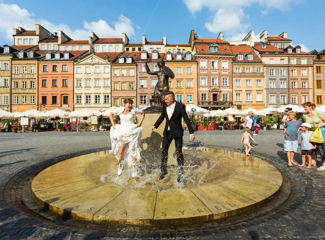 Newly weds in Warsaw, Poland