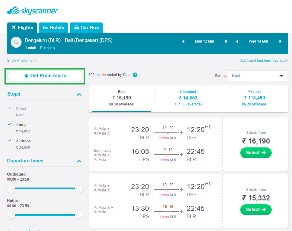 Price Alert Tool: Get flight rate alerts as and when flight