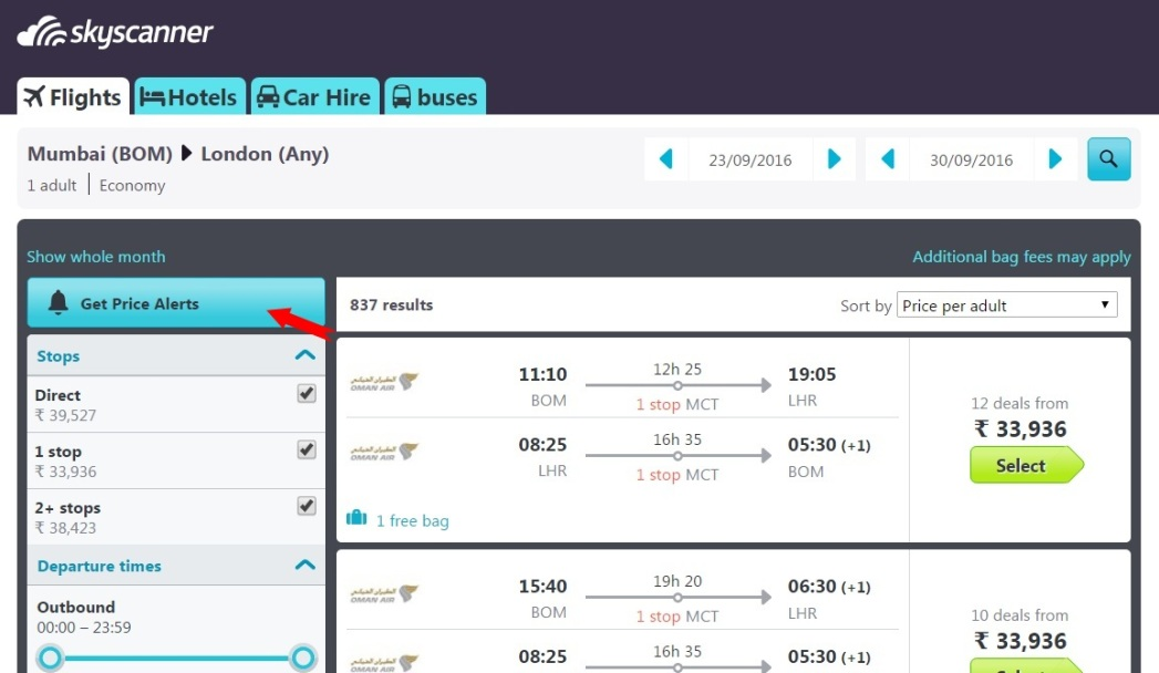 Subscribe to Skyscanner's price alert feature