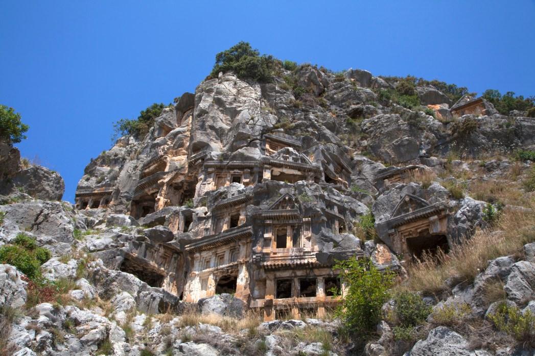 The rock cut tombs in Myra